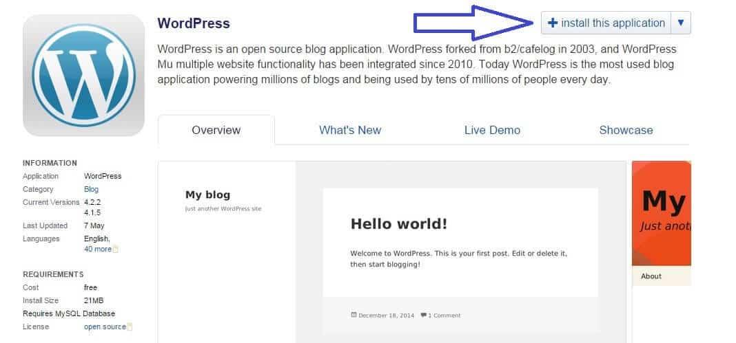 Installationsknapp wordpress