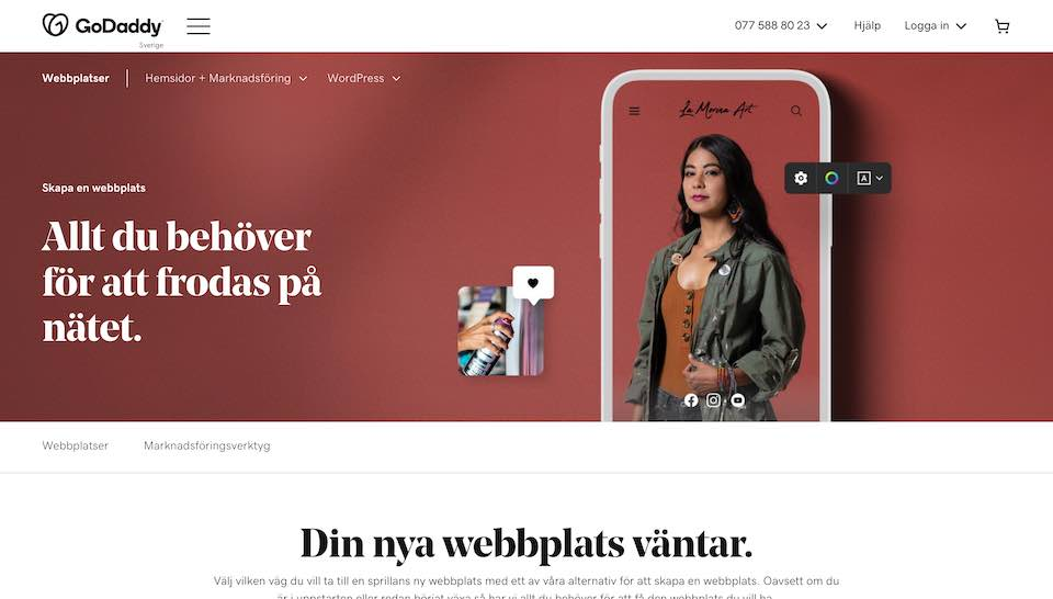 godaddy-hemsida med wordpress